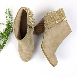 Zara Taupe Spike Ankle Booties